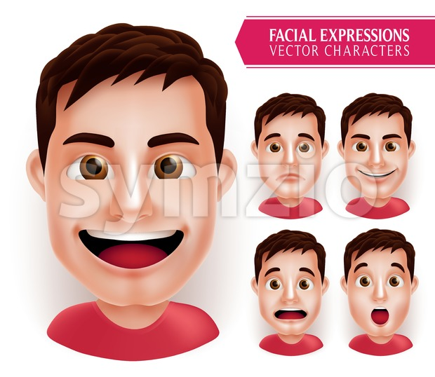 Set Man Head Emotions with Different Facial Expressions Stock Vector