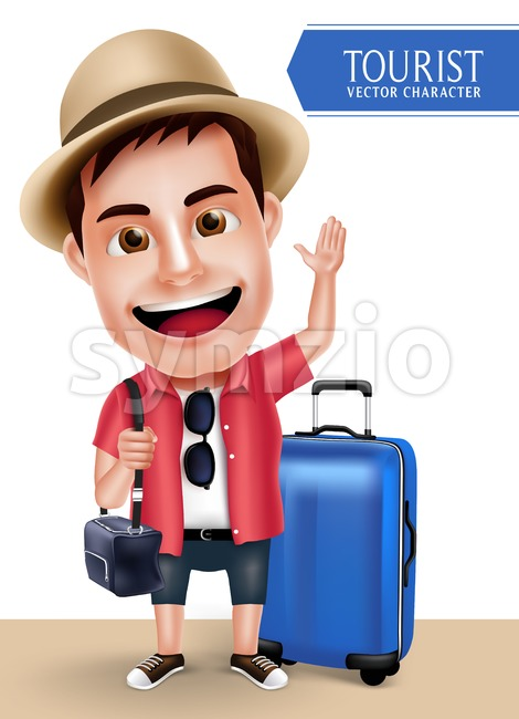 Tourist Traveler Man Vector Character Wearing Casual with Traveling Bags for Travel and Hiking Isolated in White Background in Vector ...