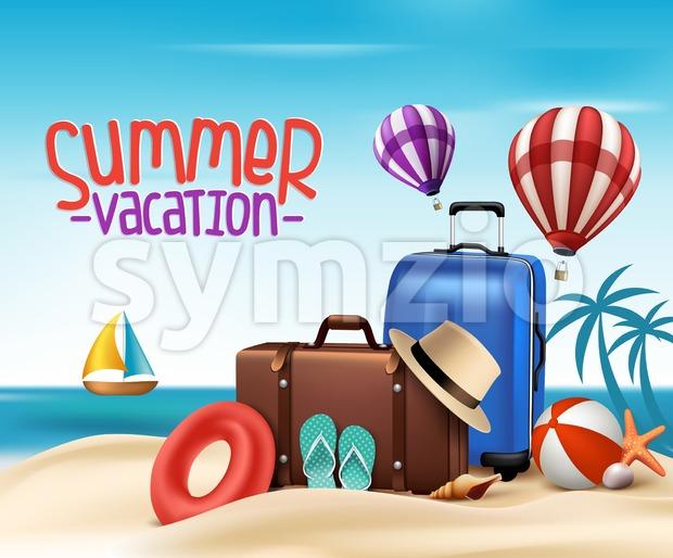 Summer Vacation Poster Design Vector Stock Vector