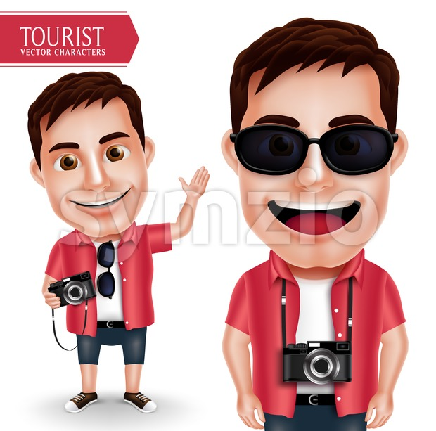 Tourist Photographer Man Vector Character Stock Vector