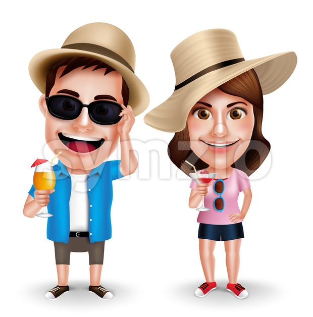 Summer Vacation Vector Characters of Couples Drinking Juices Wearing Casual Isolated in White Background in Vector Characters Set. This handsome tourist traveler vector ...