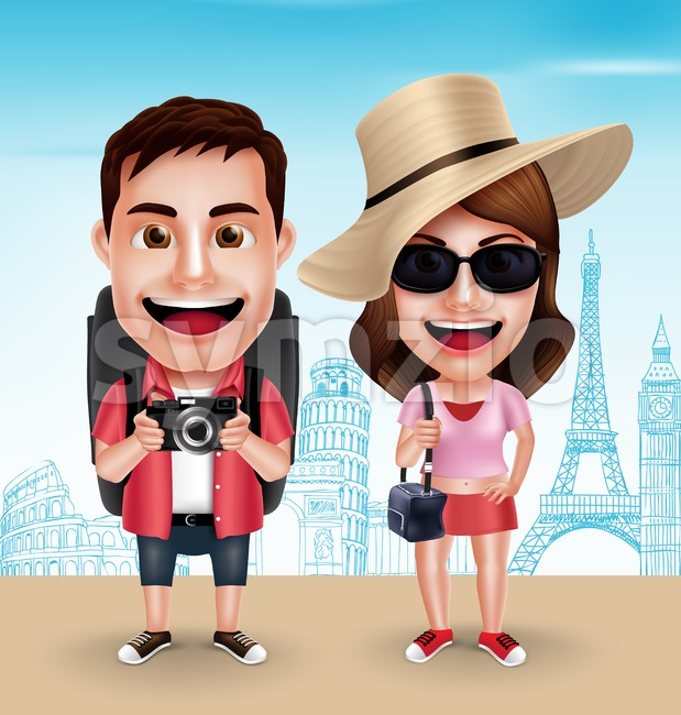 Tourist Traveler Couple Vector Characters Wearing Casual with Traveling Bags for Travel in Famous Landmarks in Vector Characters Set. This handsome tourist ...
