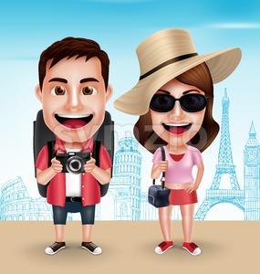 Tourist Traveler Couple Vector Characters Stock Vector