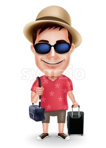 Tourist Traveler Man Vector Character with Traveling Bags Stock Vector