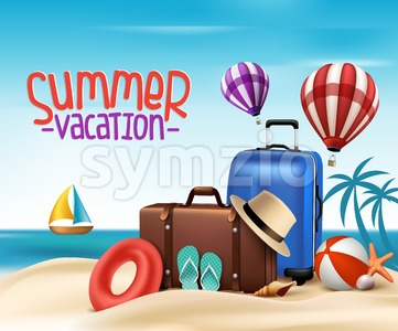 Summer Vacation Poster Design Vector Stock Vector