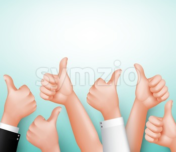 Vector Thumbs Up Sign of Team Hands Stock Vector