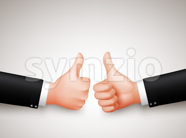 Thumbs Up Sign Vector of Two Professional Businessman Hands for Agreements in 3D Realistic Vector Illustration. This hand sign vector was design ...
