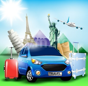 Blue Travel Car together with Plane and Landmarks Stock Vector