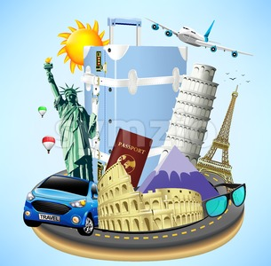 Road Island with Travel Objects and Landmarks Stock Vector