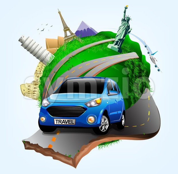 Vector Small Green Planet with Blue Travel Car together with Plane and World's Famous Landmarks in Vector Illustration. This beautiful travel ...