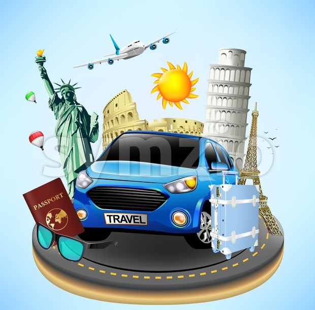 Well Known Landmarks with Travel Objects Stock Vector