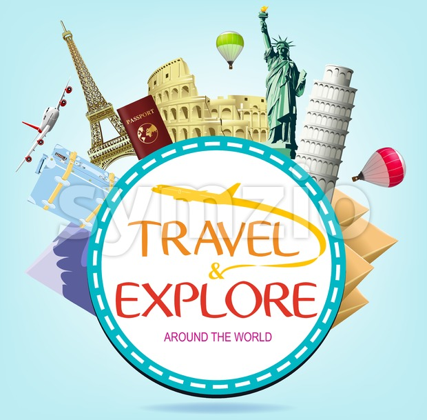 Travel and Explore Around the World Typograph Stock Vector