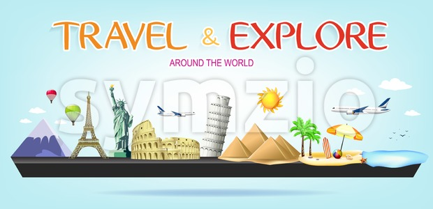 Travel and Explore Around the World Miniature Landscape Stock Vector