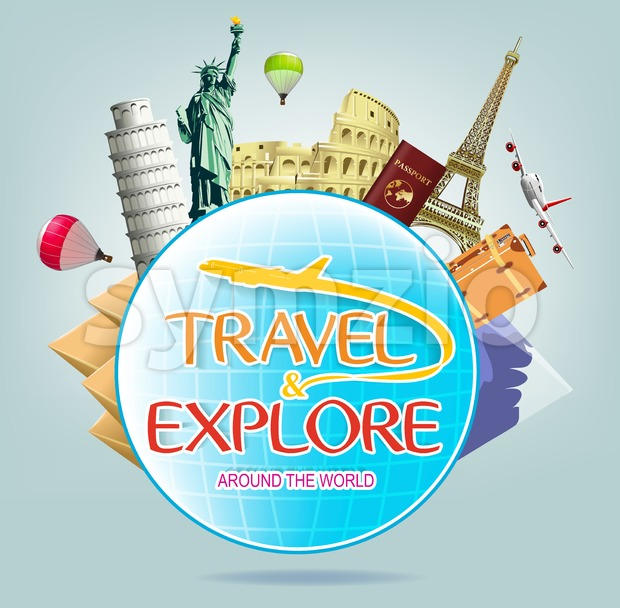 Travel and Explore Around the World with Globe Stock Vector