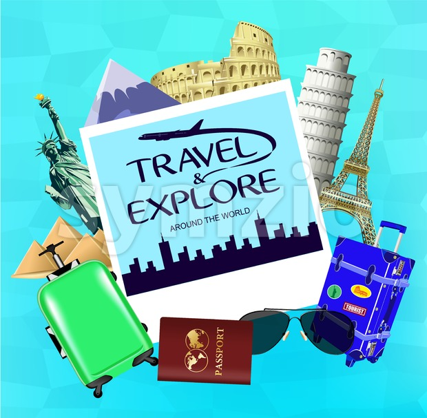 Vector Travel and Explore Around the World with Picture and Travel Objects with Famous Landmarks of the World on Blue ...