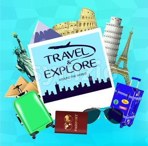 Vector Travel and Explore Around the World Stock Vector
