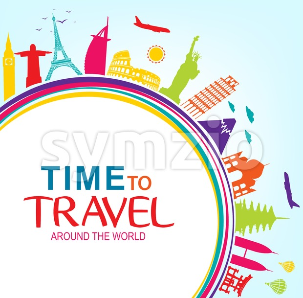 Colorful Time to Travel Around the World with Space for text Vector Pop Art in Vector Illustration. This beautiful travel vector ...