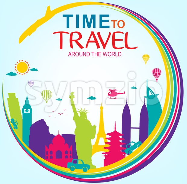 Full Vector Time to Travel Around the World with Colorful World's Famous Landmarks on Blue Background. This beautiful travel vector design ...