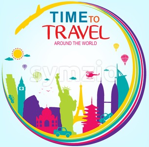 Vector Time to Travel Around the World Stock Vector