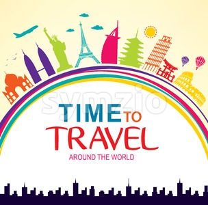 Time to Travel Around the World Vector Stock Vector