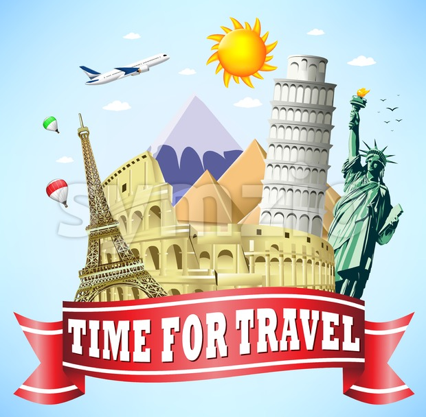 Time to Travel Red Ribbon with Famous Landmarks of the World in Vector Illustration. This beautiful travel vector design is rich ...