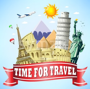 Travel Red Ribbon with Famous Landmarks Stock Vector
