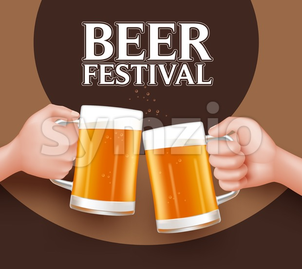 Beer Festival Vector. Toast of Two Man Stock Vector