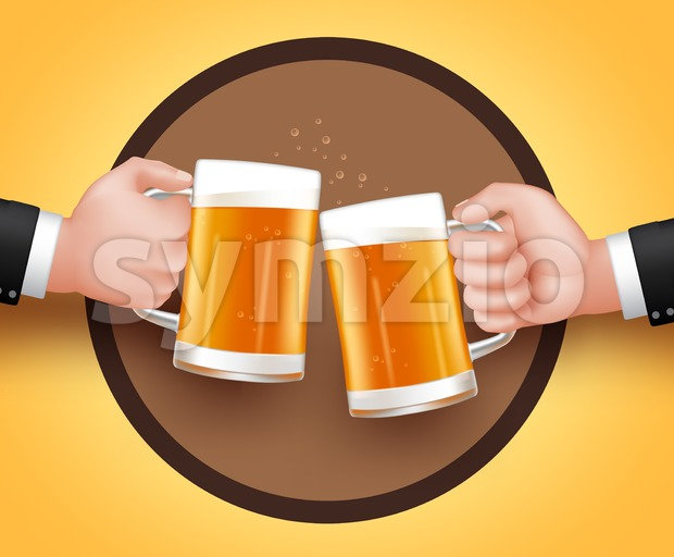 Cheers Beer. Two Man Holding Mug of Cold Beer for Toast of Celebration and Friendship. 3D Realistic Vector Illustration.This Toast ...
