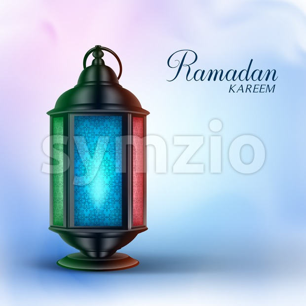 Ramadan Vector Lantern or Fanous with Greetings in a Colorful Background. 3D Realistic Vector Illustration. This Ramadan Lantern vector was design with 3D ...