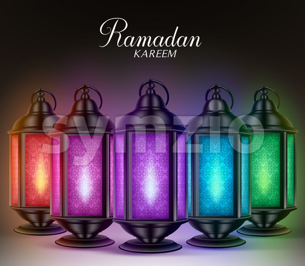 Colorful Set of Ramadan Lanterns or Fanous in Vector Stock Vector