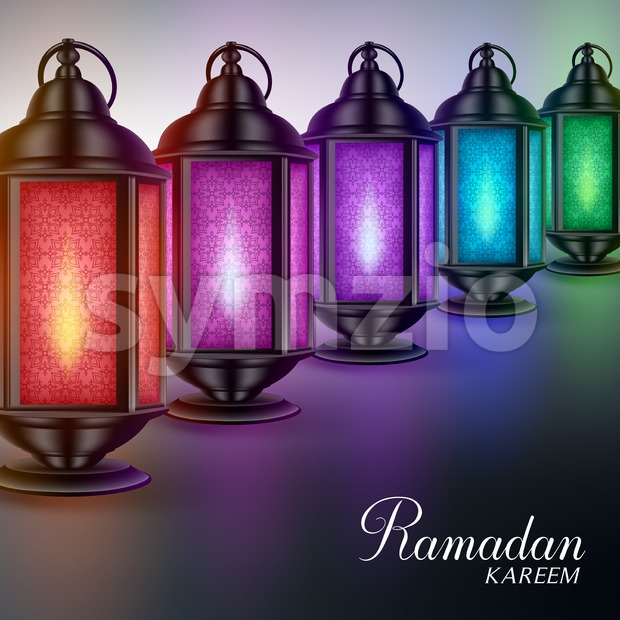 Colorful Vector Ramadan Lanterns or Fanous Stock Vector