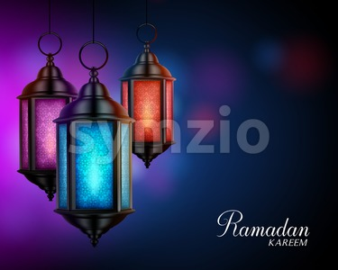 Lanterns or Fanous with Ramadan Kareem Greetings Stock Vector