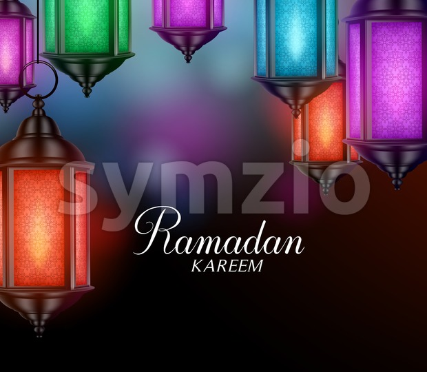 Hanging Lanterns or Fanous Vector for Ramadan Stock Vector