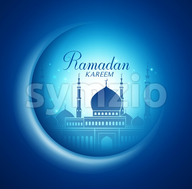 Vector Moon and Mosque for Ramadan Kareem Stock Vector