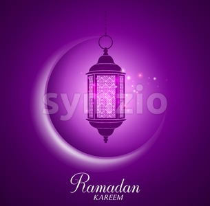 Vector Crescent Moon and Lantern for Ramadan Stock Vector