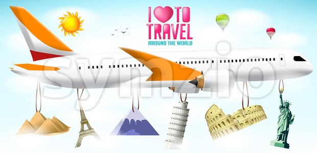 Airplane with Hanging Landmarks Stock Vector