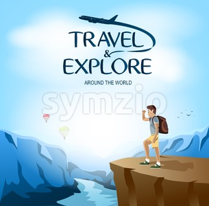 Traveler Man Site Seeing on The Cliff Stock Vector