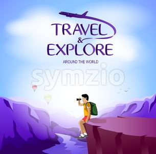 Man Traveler Sitting on the Cliff Stock Vector