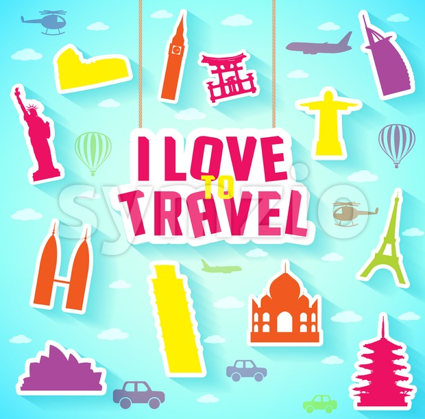 Hanging I Love to Travel Text with Iconic Landmarks. Vector Illustration