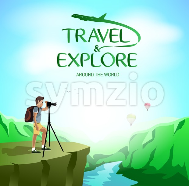 Travel and Explore Around The World with Man Traveler Taking Picture on The Cliff. Vector Illustration
