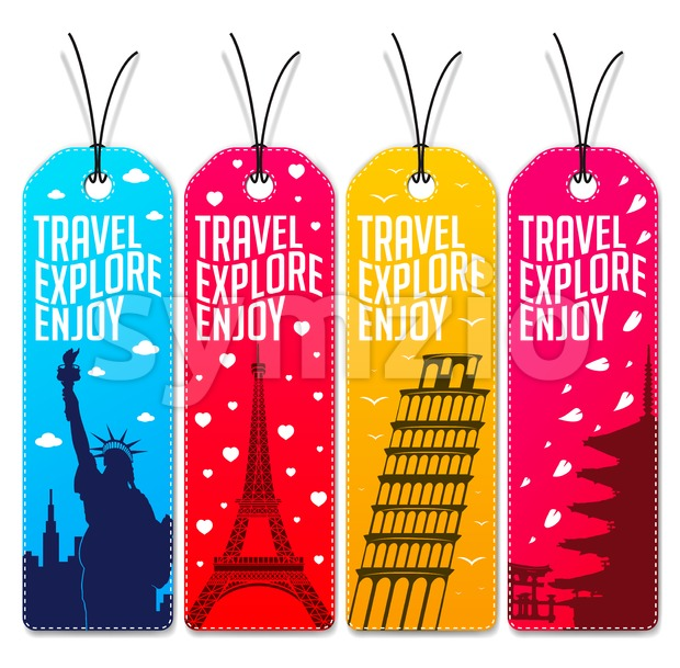 Colorful Travel Beautiful Tags Stock Vector