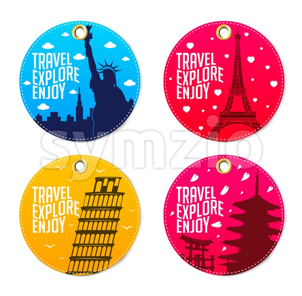 Colorful Travel Explore Enjoy Round Tags Stock Vector