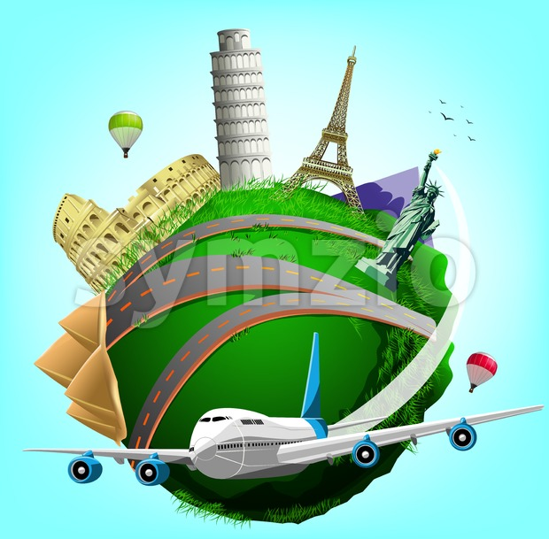 Vector Travel Green Planet Stock Vector