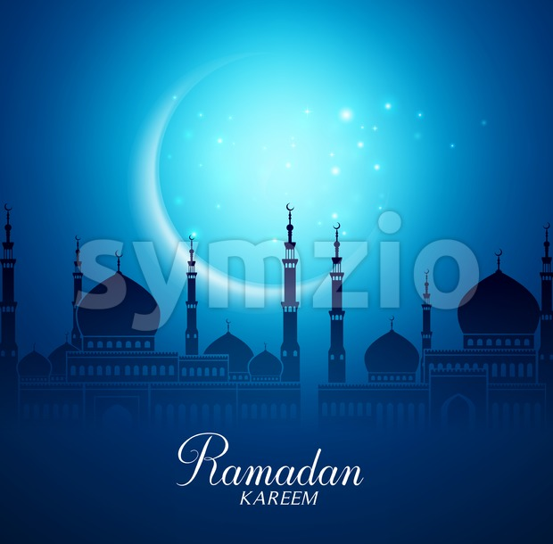 Mosque Vector and Crescent Moon for Ramadan Stock Vector