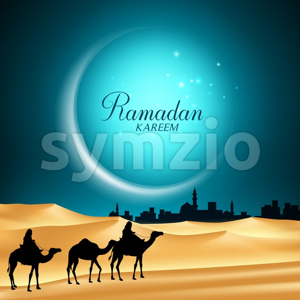 Ramadan Vector Background of Moon with Camels Riding in the Desert Sand Going to the Middle East City for the ...