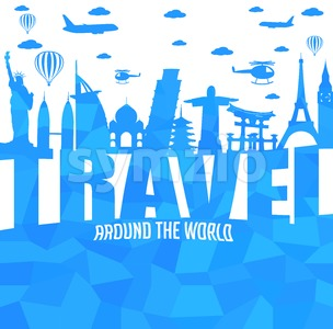 Travel Around the World Text Stock Vector