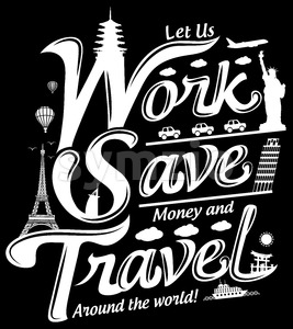 Let Us Work Travel Free Vector Illustration Stock Vector