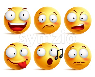 Smiley Face Vector Icons or Emoticons Set Stock Vector