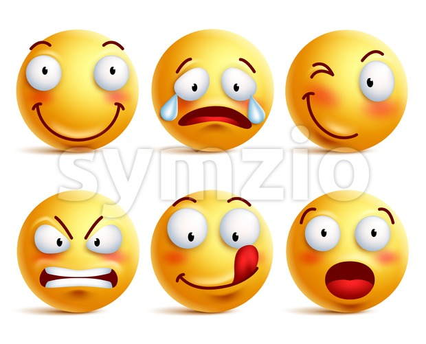 Vector Smiley Face Icons Set or Emoticons Stock Vector