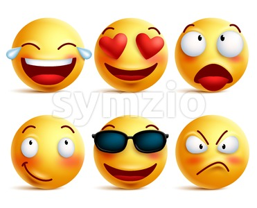 Smiley Icons and Emoticons Funny Faces in Vector Stock Vector